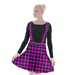 Lumberjack Fabric Pattern Pink Black Suspender Skater Skirt