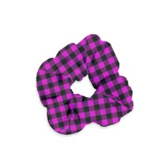 Lumberjack Fabric Pattern Pink Black Velvet Scrunchie