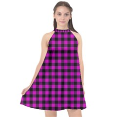 Lumberjack Fabric Pattern Pink Black Halter Neckline Chiffon Dress