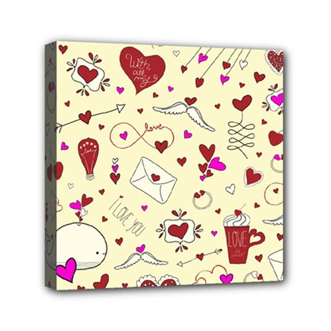 Valentinstag Love Hearts Pattern Red Yellow Mini Canvas 6  x 6