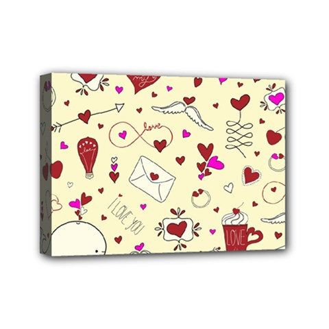 Valentinstag Love Hearts Pattern Red Yellow Mini Canvas 7  x 5