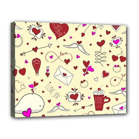 Valentinstag Love Hearts Pattern Red Yellow Canvas 14  x 11