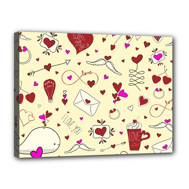 Valentinstag Love Hearts Pattern Red Yellow Canvas 16  x 12