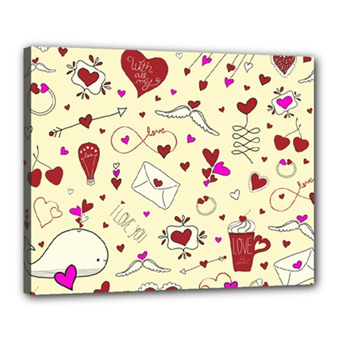 Valentinstag Love Hearts Pattern Red Yellow Canvas 20  x 16