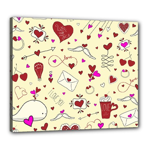Valentinstag Love Hearts Pattern Red Yellow Canvas 24  x 20