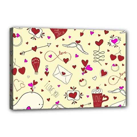 Valentinstag Love Hearts Pattern Red Yellow Canvas 18  x 12