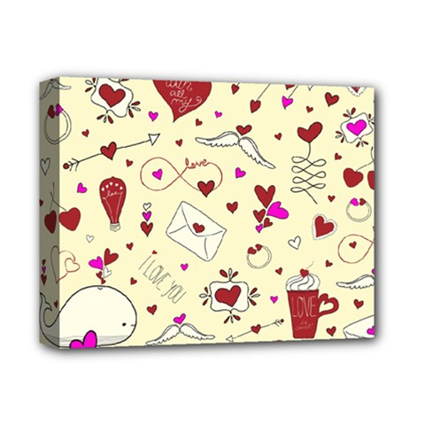 Valentinstag Love Hearts Pattern Red Yellow Deluxe Canvas 14  x 11
