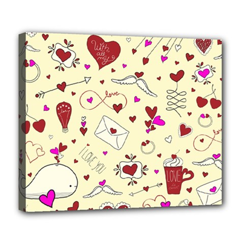 Valentinstag Love Hearts Pattern Red Yellow Deluxe Canvas 24  x 20