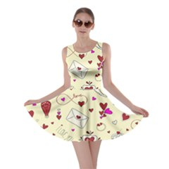 Valentinstag Love Hearts Pattern Red Yellow Skater Dress