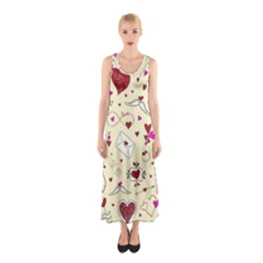 Valentinstag Love Hearts Pattern Red Yellow Sleeveless Maxi Dress