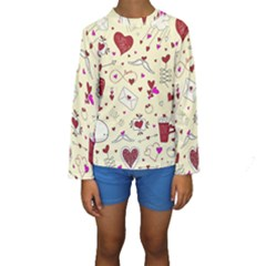 Valentinstag Love Hearts Pattern Red Yellow Kids  Long Sleeve Swimwear