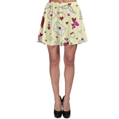Valentinstag Love Hearts Pattern Red Yellow Skater Skirt