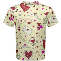 Valentinstag Love Hearts Pattern Red Yellow Men s Cotton Tee