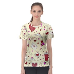 Valentinstag Love Hearts Pattern Red Yellow Women s Sport Mesh Tee