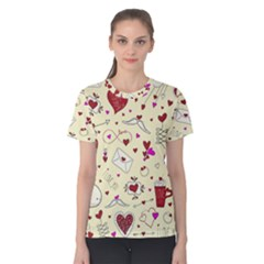 Valentinstag Love Hearts Pattern Red Yellow Women s Cotton Tee