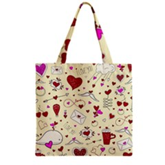 Valentinstag Love Hearts Pattern Red Yellow Grocery Tote Bag