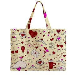 Valentinstag Love Hearts Pattern Red Yellow Mini Tote Bag