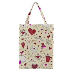 Valentinstag Love Hearts Pattern Red Yellow Classic Tote Bag
