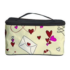 Valentinstag Love Hearts Pattern Red Yellow Cosmetic Storage Case
