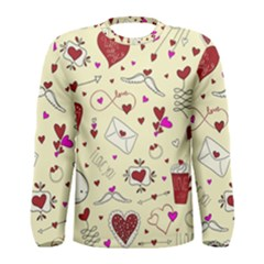 Valentinstag Love Hearts Pattern Red Yellow Men s Long Sleeve Tee