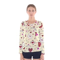 Valentinstag Love Hearts Pattern Red Yellow Women s Long Sleeve Tee