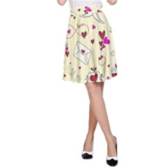 Valentinstag Love Hearts Pattern Red Yellow A-Line Skirt