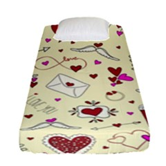 Valentinstag Love Hearts Pattern Red Yellow Fitted Sheet (Single Size)