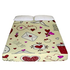 Valentinstag Love Hearts Pattern Red Yellow Fitted Sheet (Queen Size)