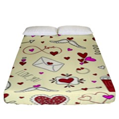 Valentinstag Love Hearts Pattern Red Yellow Fitted Sheet (King Size)