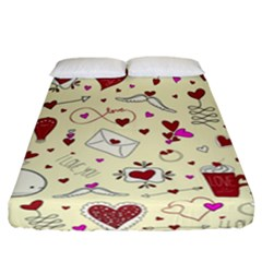 Valentinstag Love Hearts Pattern Red Yellow Fitted Sheet (California King Size)