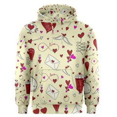 Valentinstag Love Hearts Pattern Red Yellow Men s Pullover Hoodie