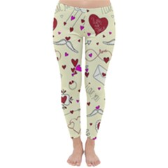 Valentinstag Love Hearts Pattern Red Yellow Classic Winter Leggings