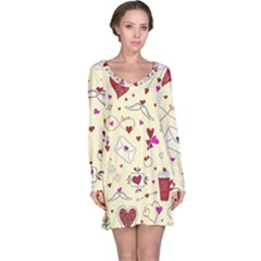 Valentinstag Love Hearts Pattern Red Yellow Long Sleeve Nightdress