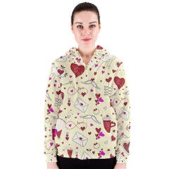 Valentinstag Love Hearts Pattern Red Yellow Women s Zipper Hoodie