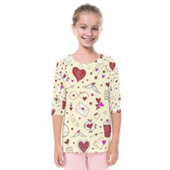 Valentinstag Love Hearts Pattern Red Yellow Kids  Quarter Sleeve Raglan Tee