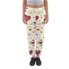 Valentinstag Love Hearts Pattern Red Yellow Women s Jogger Sweatpants