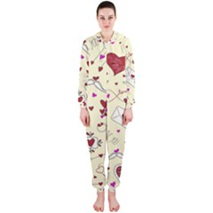 Valentinstag Love Hearts Pattern Red Yellow Hooded Jumpsuit (Ladies)