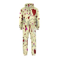 Valentinstag Love Hearts Pattern Red Yellow Hooded Jumpsuit (Kids)