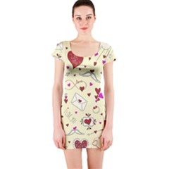 Valentinstag Love Hearts Pattern Red Yellow Short Sleeve Bodycon Dress