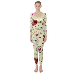 Valentinstag Love Hearts Pattern Red Yellow Long Sleeve Catsuit