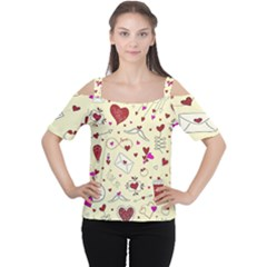 Valentinstag Love Hearts Pattern Red Yellow Women s Cutout Shoulder Tee