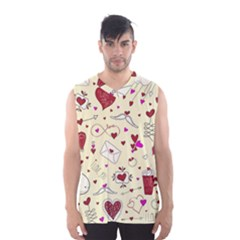 Valentinstag Love Hearts Pattern Red Yellow Men s Basketball Tank Top