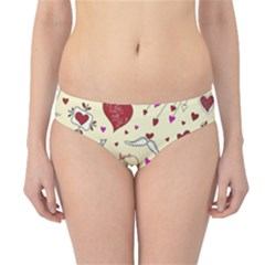 Valentinstag Love Hearts Pattern Red Yellow Hipster Bikini Bottoms