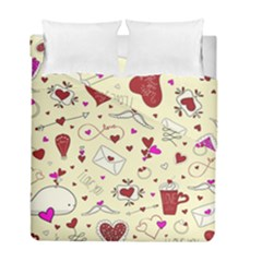 Valentinstag Love Hearts Pattern Red Yellow Duvet Cover Double Side (Full/ Double Size)