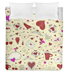 Valentinstag Love Hearts Pattern Red Yellow Duvet Cover Double Side (Queen Size)