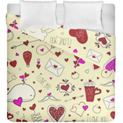 Valentinstag Love Hearts Pattern Red Yellow Duvet Cover Double Side (King Size)
