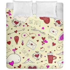 Valentinstag Love Hearts Pattern Red Yellow Duvet Cover Double Side (California King Size)