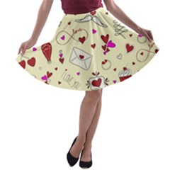 Valentinstag Love Hearts Pattern Red Yellow A-line Skater Skirt