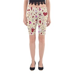 Valentinstag Love Hearts Pattern Red Yellow Yoga Cropped Leggings