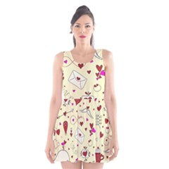 Valentinstag Love Hearts Pattern Red Yellow Scoop Neck Skater Dress